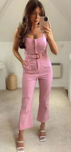 ZARA NEW WOMAN FITTED JUMPSUIT WITH BELT CHALK PINK  M REF. 3564/094