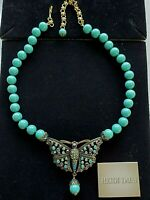 "NEW Heidi Daus BUTTERFLY Monarch Madness Turquoise Crystal Beaded 22.5"" Necklace"