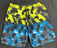 Distortion Board Shorts Swim Trunks Surfing Men's SZ 34 Multi-Color Print Rare