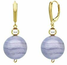 14k Yellow Gold Lever-back Dangle Earrings with 12mm Blue Agate & 4mm Gold Beads