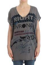 Nuova con Etichetta C e C Costume National Grigio Motivo Stampa T-Shirt Lunga
