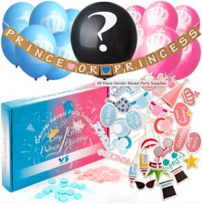 46 Piece Baby Gender Reveal Party Supplies - Baby Shower Decoration - 30 Props