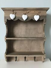 VINTAGE WOODEN HEART KITCHEN SHELF - RUSTIC WALL UNIT & HOOK DISPLAY SPICE RACK