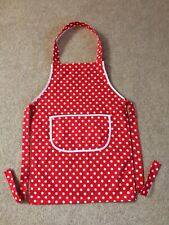 Childs Cooking Craft  Fabric Christmas Apron Approx Age 4-6 Red White Spot