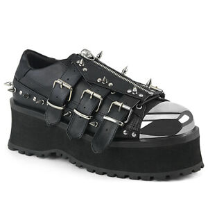 Demonia GRAVEDIGGER-03 Men's Black Punk Goth Ska Spikes Platform Metal Toe Cap