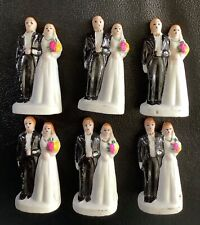 6 Vintage Wedding Cake Cupcake Topper of Bride and Groom Bisque Marked Japan