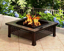 Outdoor Wood Fire Pit Square Table Cover Cooking Grill Lid Rustic Bronze Steel