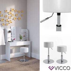 VICCO Design Hocker / Schminkhocker höhenverstellbar in weiß