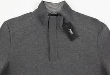 Men's HUGO BOSS Heather Gray Grey Zip Cotton Sweater Small S NWT NEW $145