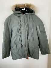 US military Storm Proof Heavy Duty Nylon Parka Wolf Fur Trim Snorkel Hood Mens L