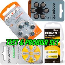 TEST SET für Hörgerätebatterien 4x 6Stück - Type frei wählen