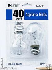 2-Pk Appliance Light Bulb Refrigerator Freezer Oven Microwave Fridge Fan A15 40W
