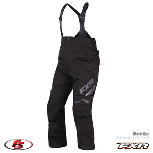 New 2021 FXR Men's Adrenaline Snowmobile Pant Bibs Black Ops, Size 4XL Short