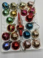Vintage Kringle Glass Christmas Ornaments Ct 21 Box Some With Glitter.