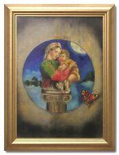 LISELOTTE ELMGREN/MOTHER AND CHILD-Swedish Oil Painting