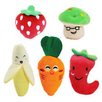 5pcs Fruits and Vegetables Plush Squeaky Puppy Dog Toys Puppies Small Dogs Toys