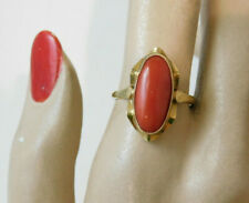 Victorian 585 Yellow Gold Natural Salmon Coral size 7 Solitaire Ring  10j 110