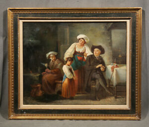 Dutch Antique Painting Family Interior Genre Scene with Girl and Priest