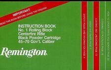 Remington No 1 Rolling Block 45-70 Gov't Caliber Rifle & Sporter Owner's Manual