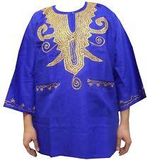 Men's Dashiki Shirt African Rayon Brocade Top Women Blouse Blue w/ Hat One Size