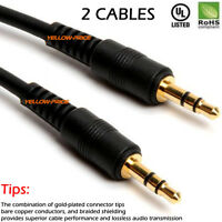 3/6/12ft Gold Shield 3.5mm Male To Male Stereo Audio AUX Cable Cord PC iPod CAR