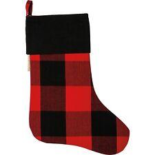 """Christmas Stocking Buffalo Plaid Red Black Check 11"""" x 18"""""""