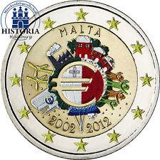 Malta 2 Euro 2012 bfr. 10 Jahre Euro Bargeld in Farbe