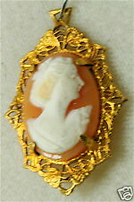 Pendant Charm 4 Necklace Vintage Gold Fill Shell Cameo