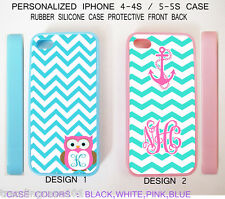 CUTE Mint Blue Pink Chevron Anchor Owl MONOGRAM Case For iPhone 6 6S SE 5S 5C 4S