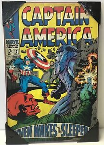 Captain America Wood Wall Art Decor Marvel Comics - Silver Buffalo Plaque 13x19