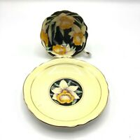 Vintage Paragon Daffodils Double Warrant Black & Yellow Tea Cup Saucer