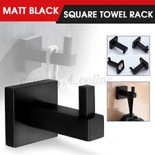 2Pcs Matt Black Square Towel Rack Rail Tissue Roll Toilet Brush Holder Robe Hook