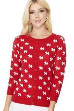 YEMAK Women's Cute Dog Patterned 3/4 Sleeve Button-Down Cardigan Sweater MK3675