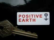 "Positive Earth + Classic Car Bike Scooter Truck Van Stickers. 2"" Pair."