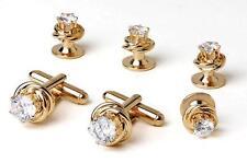 New Mens Gold Love Knots Cubic Zirconia Cuff Links Studs Box Set Top Quality
