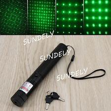 UK 532nm 1mW Green Laser Lazer Pointer Pen Beam Light Adjustable Focus Star Cap