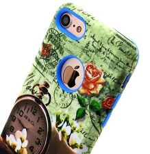 For iPhone 7 (4.7 inch) - HYBRID HARD&SOFT RUBBER ARMOR CASE POCKET WATCH FLOWER