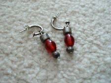 Chico's Sterling Silver Red Beaded Dangle Earrings