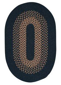 Madison Navy Khaki Bordered Wool Blend Country Farmhouse Oval Round Braided Rug
