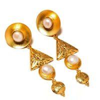 Fresh Water Pearl Gemstone Gold Plated Handmade Carving Drop Dangle Earrings