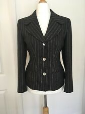 PATSY SEDDON for PHASE EIGHT Wool Blend Grey Pinstripe Fitted Jacket UK10