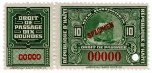 (I.B) Haiti Revenue : Embarkation Duty 10Fr (ABN Specimen)