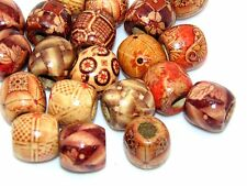 50 Pcs -  Mixed Painted Wooden Drum Beads 17mm Beads Jewellery Ethnic Craft U33