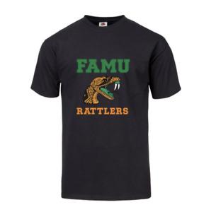 """ FAMU RATTLER"" Logo T-Shirt Black Unisex Florida A&M University FAMU Sz S- 3XL"
