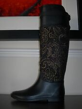 WOMEN'S TALL RAIN BOOTS RIDING RUBBER FABRIC FRENCH DESIGN EU 38 / UK 5 SLIM FIT