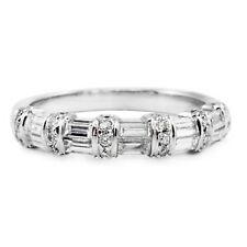 18k White Gold Round & Baguette Diamond Band Ring Wedding Anniversary NWB
