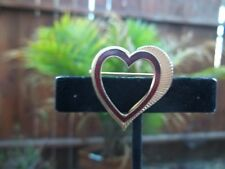Lovely Vintage Goldtone and Red Open Heart Shaped Ladies Brooch Pin