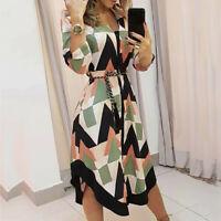 Women B·oho Print V-neck Maxi Dress Ladies Holiday Beach Maxi Dress Long Sleeves