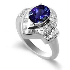 18k White Gold Tanzanite Diamond Halo Ring