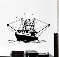 Vinyl Wall Decal Fishing Ship Yacht Fish Ocean Sea Marine Decor (z3979)